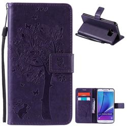 Embossing Butterfly Tree Leather Wallet Case for Samsung Galaxy Note 5 N920 - Purple