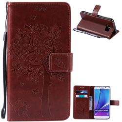 Embossing Butterfly Tree Leather Wallet Case for Samsung Galaxy Note 5 N920 - Brown