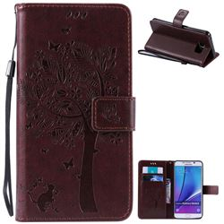 Embossing Butterfly Tree Leather Wallet Case for Samsung Galaxy Note 5 N920 - Coffee