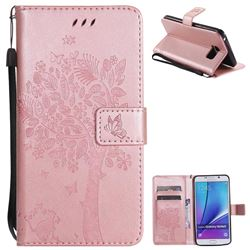 Embossing Butterfly Tree Leather Wallet Case for Samsung Galaxy Note 5 - Rose Pink