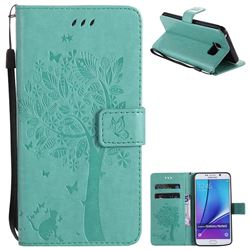 Embossing Butterfly Tree Leather Wallet Case for Samsung Galaxy Note 5 - Cyan