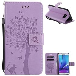 Embossing Butterfly Tree Leather Wallet Case for Samsung Galaxy Note 5 - Violet