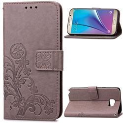 Embossing Imprint Four-Leaf Clover Leather Wallet Case for Samsung Galaxy Note 5 - Gray