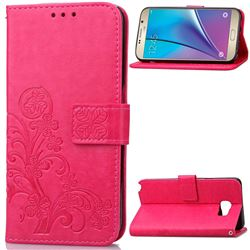 Embossing Imprint Four-Leaf Clover Leather Wallet Case for Samsung Galaxy Note 5 - Rose