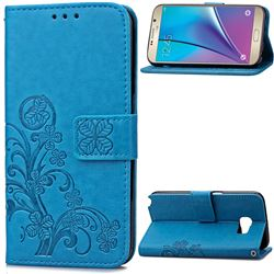 Embossing Imprint Four-Leaf Clover Leather Wallet Case for Samsung Galaxy Note 5 - Blue