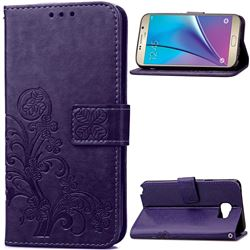 Embossing Imprint Four-Leaf Clover Leather Wallet Case for Samsung Galaxy Note 5 - Purple