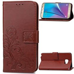 Embossing Imprint Four-Leaf Clover Leather Wallet Case for Samsung Galaxy Note 5 - Brown