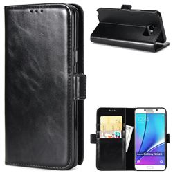 Luxury Crazy Horse PU Leather Wallet Case for Samsung Galaxy Note 5 - Black
