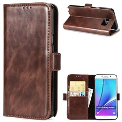 Luxury Crazy Horse PU Leather Wallet Case for Samsung Galaxy Note 5 - Coffee