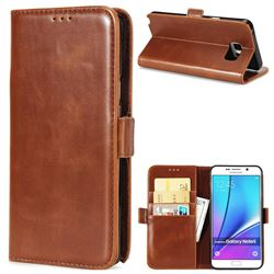 Luxury Crazy Horse PU Leather Wallet Case for Samsung Galaxy Note 5 - Brown