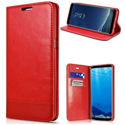 Magnetic Suck Stitching Slim Leather Wallet Case for Samsung Galaxy Note 5 - Red