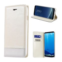 Magnetic Suck Stitching Slim Leather Wallet Case for Samsung Galaxy Note 5 - White