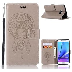 Intricate Embossing Owl Campanula Leather Wallet Case for Samsung Galaxy Note 5 - Grey