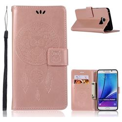 Intricate Embossing Owl Campanula Leather Wallet Case for Samsung Galaxy Note 5 - Rose Gold