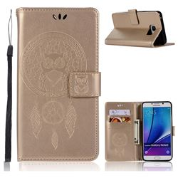 Intricate Embossing Owl Campanula Leather Wallet Case for Samsung Galaxy Note 5 - Champagne