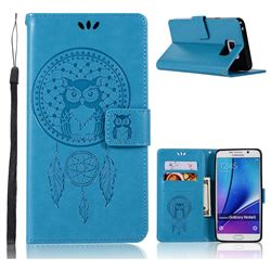 Intricate Embossing Owl Campanula Leather Wallet Case for Samsung Galaxy Note 5 - Blue