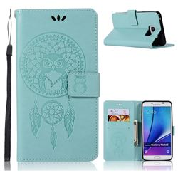 Intricate Embossing Owl Campanula Leather Wallet Case for Samsung Galaxy Note 5 - Green