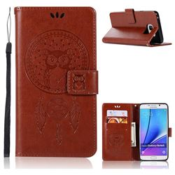 Intricate Embossing Owl Campanula Leather Wallet Case for Samsung Galaxy Note 5 - Brown