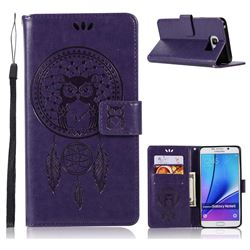 Intricate Embossing Owl Campanula Leather Wallet Case for Samsung Galaxy Note 5 - Purple