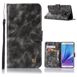Luxury Retro Leather Wallet Case for Samsung Galaxy Note 5 - Gray