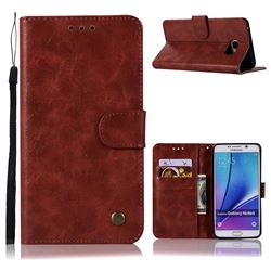 Luxury Retro Leather Wallet Case for Samsung Galaxy Note 5 - Wine Red