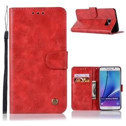 Luxury Retro Leather Wallet Case for Samsung Galaxy Note 5 - Red