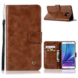 Luxury Retro Leather Wallet Case for Samsung Galaxy Note 5 - Brown