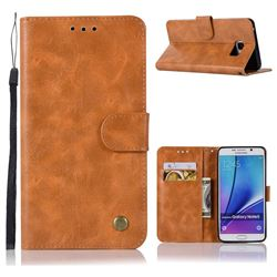 Luxury Retro Leather Wallet Case for Samsung Galaxy Note 5 - Golden