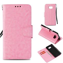 Retro Phantom Smooth PU Leather Wallet Holster Case for Samsung Galaxy Note 5 - Pink