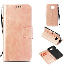Retro Phantom Smooth PU Leather Wallet Holster Case for Samsung Galaxy Note 5 - Rose Gold