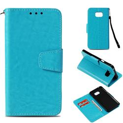 Retro Phantom Smooth PU Leather Wallet Holster Case for Samsung Galaxy Note 5 - Sky Blue