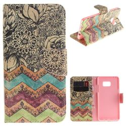 Wave Flower PU Leather Wallet Case for Samsung Galaxy Note 7