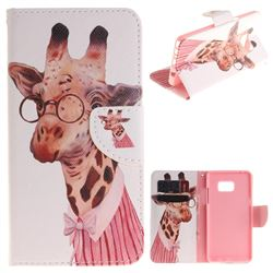 Pink Giraffe PU Leather Wallet Case for Samsung Galaxy Note 7