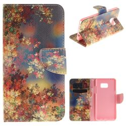 Colored Flowers PU Leather Wallet Case for Samsung Galaxy Note 7