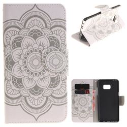 White Flowers PU Leather Wallet Case for Samsung Galaxy Note 7