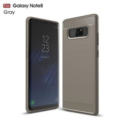 Luxury Carbon Fiber Brushed Wire Drawing Silicone TPU Back Cover for Samsung Galaxy Note 8 (Gray)