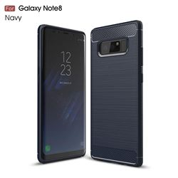 Luxury Carbon Fiber Brushed Wire Drawing Silicone TPU Back Cover for Samsung Galaxy Note 8 (Navy)