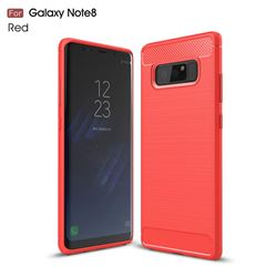 Luxury Carbon Fiber Brushed Wire Drawing Silicone TPU Back Cover for Samsung Galaxy Note 8 (Red)