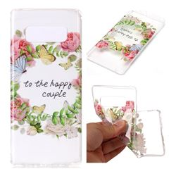 Green Leaf Rose Super Clear Soft TPU Back Cover for Samsung Galaxy Note 8