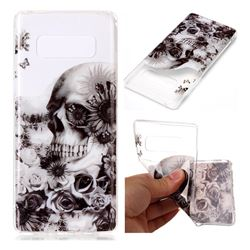 Black Flower Skull Super Clear Soft TPU Back Cover for Samsung Galaxy Note 8