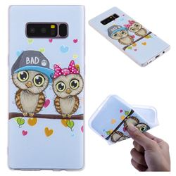 Couple Owls 3D Relief Matte Soft TPU Back Cover for Samsung Galaxy Note 8