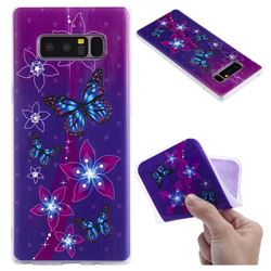 Butterfly Flowers 3D Relief Matte Soft TPU Back Cover for Samsung Galaxy Note 8