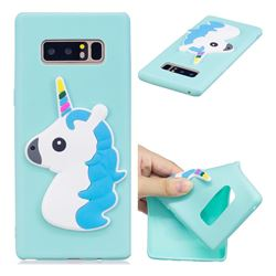 Blue Hair Unicorn Soft 3D Silicone Case for Samsung Galaxy Note 8