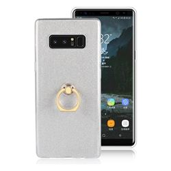 Luxury Soft TPU Glitter Back Ring Cover with 360 Rotate Finger Holder Buckle for Samsung Galaxy Note 8 - White