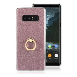 Luxury Soft TPU Glitter Back Ring Cover with 360 Rotate Finger Holder Buckle for Samsung Galaxy Note 8 - Pink