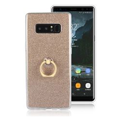 Luxury Soft TPU Glitter Back Ring Cover with 360 Rotate Finger Holder Buckle for Samsung Galaxy Note 8 - Golden