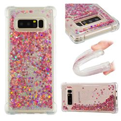 Dynamic Liquid Glitter Sand Quicksand TPU Case for Samsung Galaxy Note 8 - Rose Gold Love Heart