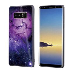 Luxury Starry Sky Tempered Glass Hard Back Cover with Silicone Bumper for Samsung Galaxy Note 8 - Purple