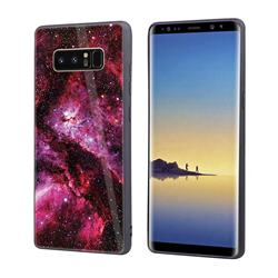 Luxury Starry Sky Tempered Glass Hard Back Cover with Silicone Bumper for Samsung Galaxy Note 8 - Red