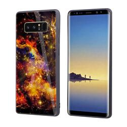 Luxury Starry Sky Tempered Glass Hard Back Cover with Silicone Bumper for Samsung Galaxy Note 8 - Yellow